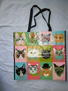 T.J.Maxx Big Reusable Tote/Shopping/Gift Bag Cats Wearing Eyeglasses Designs