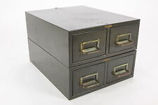 Cole Industrial 4-Drawer Index Card File Steampunk Green Metal Filing Cabinet