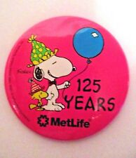 SNOOPY WOODSTOCK PEANUTS PINK MET LIFE 125 YEARS PIN BACK BUTTON