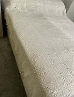 1930s Cotton Throw Lace Table Cover French Crochet Hand Made Fringed Vintage Old
