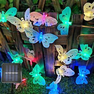 LED Lichterkette Solarleuchte Garten Beleuchtung Deko Schmetterling Wasserdicht
