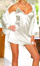 Dreamgirl White Satin Slip & Robe Set Size 22 - 24 Nighty & Wrap Gown Sexy 3X 4X