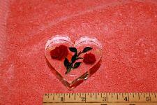 Bircraft Handmade Indiana Lucite Roses Design Heart Shaped Paperweight
