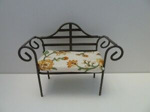 Dolls House Miniature 1:12 Scale Reutter Metal Garden Bench with Floral Cushion