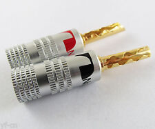 2pcs Nakamichi 24K Gold Plated Copper BFA 4mm Banana Plug Male Speaker Connector