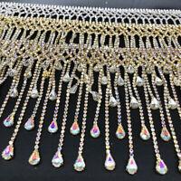 Crystal Rhinestone Chain Fringe Tassel Diamante Trimming Sewing Craft 10-20cm L