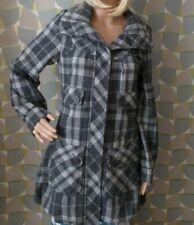 BNWOT Coat Jacket WAREHOUSE Grey Tartan Plaid size 8 Medium weight black wool