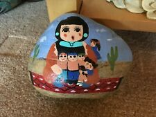"""Hand Painted Story Teller on Rock Paperweight/Door Stop Signed approx 6-1/2"""" X 5"""