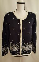 Christopher Banks Women's Cardigan Sweater Size M Hand embroidered Crew Neck