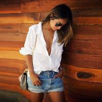 New Fashion Women Blouse Shirt Large Loose Long Sleeve Casual Shirt Tops White