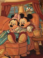 Disney World Winter Holiday Tapestry Woven Throw Mickey Minnie Fireplace Snowman
