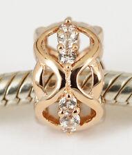 SOLID 9CT 9K ROSE GOLD Elegant FILIGREE BEAD with 12pcs CZ For Charm Bracelet AU