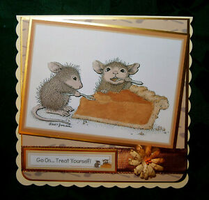 Decoupage `House Mouse` card to say `Treat yourself!`