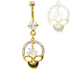 "WICKED SKULL DANGLING BELLY RING GOLD PLATED NAVEL PIERCING JEWELRY (14g 3/8"")"