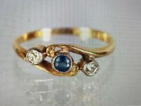 Antique 18K Yellow Gold & Platinum Sapphire & Diamonds Three Stone Ring Size 6