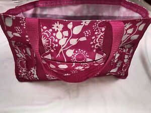 Thirty One Organizing Tote bag Travel Teacher Craft Bag Pink White