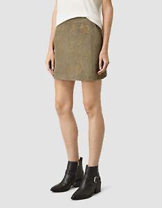 all saints Nathalia suede leather embroidered skirt UK 12 us 8 eu 40