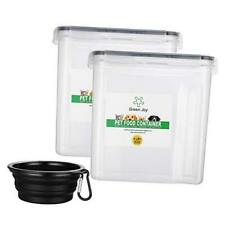 New listing Airtight Pet Food Storage Container with Dish Bowl+ Measuring Scale+ 4.0L X 2