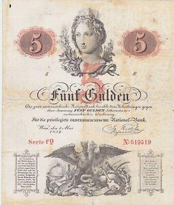 AUSTRIA 5 GULDEN 1859 F