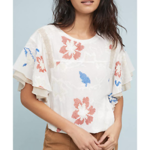 TINY Anthropologie Margarite Top Size XSP Beige Embroidered Fluttered Sleeves