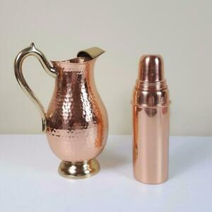 Indian Copper Solid Water Bottle + Pitcher Jug Natural Benefit For Health Set-2
