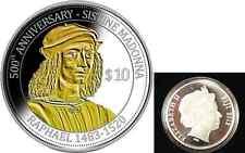 RARE 2012 Fiji  1 OZ Silver  Guilt $10- Raphael-mintage 500
