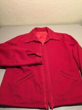 Vtg Womens Ladies Red Wool Zipper Coat Jacket W/ Lady Bug Buttons