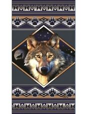 New Oversized Wolf Southwest Bath Beach Pool Cotton Gift Towel Wolves Footprints