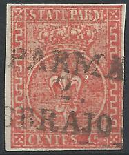 ITALIA-STATI Parma: 1854 15 C ROSSO FINE USATO - 2037