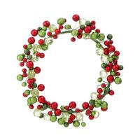 "NEW~RAZ Imports~6.5"" Christmas Bead & Ball Candle Ring or Small Wreath~Red/Green"