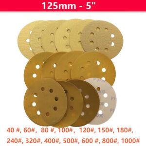 "125mm 5"" Sanding Discs Dry Sandpaper 40 - 1000 Grit Polishing Pads 8 hole Yellow"