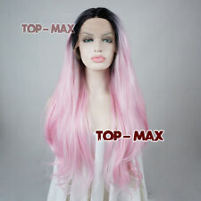 Long Lace Front Light Pink Mix Black 24 Inches Heat Resistant Women  Wavy Wigs