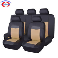PU Leather Seat Covers Sets Universal fit car SUV Van pick up beige