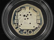 1992 - 1993 European Presidency 50p Silver Proof Coin Box Gb29