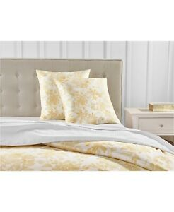 Charter Club Damask Designs Watercolor Leaf Cotton Euro Pillow Sham Yellow $70
