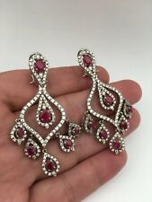 Gorgeous sterling silver 925 ruby CZ stone Earrings