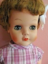 "Vintage 1950'S Hard Rubber Doll 28"" tall -Green Eyes- With Outfit"