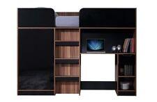 Paddington High Sleeper Black Gloss Walnut 3FT Single Storage Cabin Loft Bed