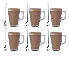 Set of 6 Latte Glass Tea Coffee Café Cappuccino Hot Drinking Cup 240ml With