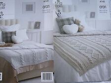 King Cole Aran Knitting Pattern 4145 2 X Throws