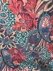 Aqua teal & Reds 100% cotton twill medallion abstract India print Shower Curtain