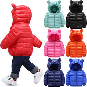 Toddler Baby Boys Girl Hooded Quilted Puffer Coat Winter Hoodies Jacket Overcoat