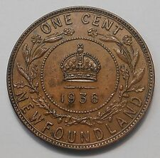 1936 Newfoundland Large Cent EF-AU * Beauty HIGH Grade LAST George V Nfld. Penny