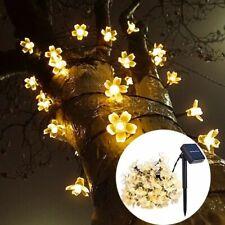 Peach Flower Garland Lawn Lamps Solar Led String Lighting Outdoor Garden Decors