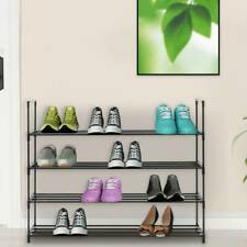 4 Tier Metal Shoe Rack for 20 Pairs Shoe Storage Stand Organiser Shelf Unit