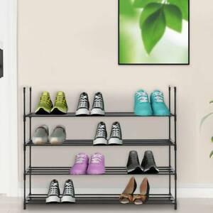 4 Tier Metal Shoe Rack for 20 Pairs Shoe Storage Stand Organiser Shelf Unit