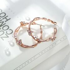 Flower Hoop Circle Fashion Earrings Jewelry Rose Gold Plated Twisted Pink Stones