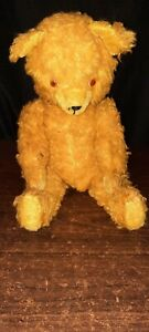 "Antique  Straw Stuffed Gold Mohair Bear  20"" SO SWEET"