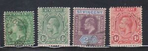 (F16-32)1883 St Vincent mix of 4stamps QVIC, KGV& Edward VII 1/2d to 2 1/2d (AG)