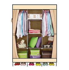 DIY Portable Cloth Wardrobe Closet Clothes Storage Organizer Beige With Shelve